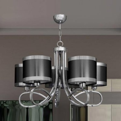 Lámpara de techo con cinco luces en cromo y plomo