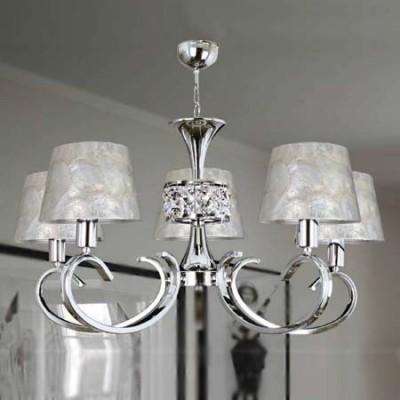 Lámpara de cinco luces en cromo con pantallas en nácar