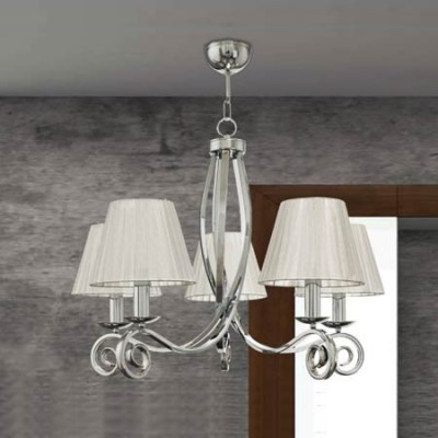 Lámpara de techo clásica de cinco luces con acabado en níquel