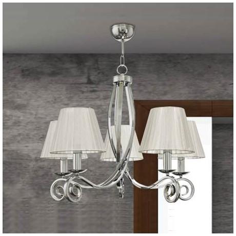 Comprar l mpara de techo cl sica de cinco luces con acabado en n quel - Lamparas clasicas de techo ...
