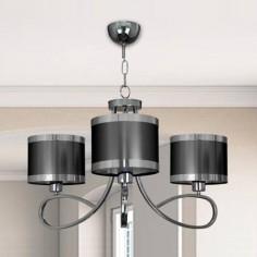 Lámpara de tres luces en cromo con pantallas cilíndricas en tono plomo