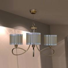 Lámpara de techo de tres luces en color cuero y champagne