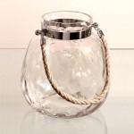 Candelero jarrón facetado con asa de cuerda