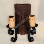 Aplique rústico Tronco con dos luces en marrón y negro