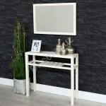 Conjunto entrada espejo y consola de madera en color blanco