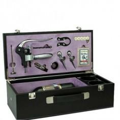 Caja vino utensilios color negro violeta fabricado polipiel