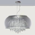 Lámpara colgante Edimburgo color gris plata con lágrimas de cristal