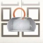 Colgante Glasgow una luz color plata en madera con pantalla interior textil