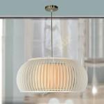 Lámpara Glasgow madera beige con pantalla interior textil beige