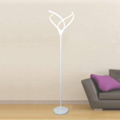 Pie de salón LED Perth estilo actual en color blanco