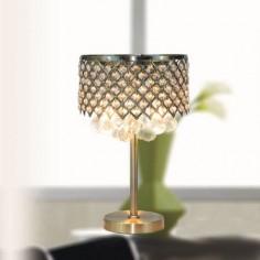 Lámpara de sobremesa Kaunas metal calado en cuero con cristales