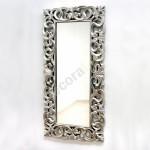 Espejo decorativo rectangular con marco tallado en plata