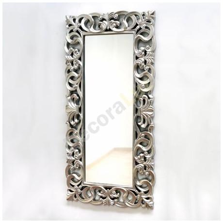Comprar espejo decorativo rectangular con marco tallado en for Espejo gris plata