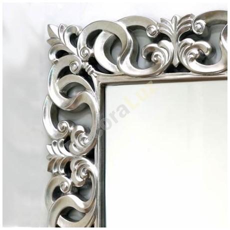 Comprar espejo decorativo rectangular con marco tallado en for Espejo plateado grande
