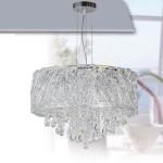 Lámpara de techo Aberdeen en cromo con hilos decorada con cristales