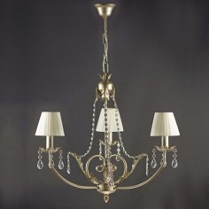Lámpara Agatone de tres luces plata envejecida con cristales