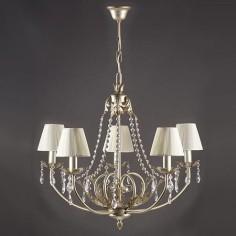 Lámpara de cinco luces Agatone en plata envejecida con cristales