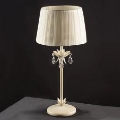 Lámpara de sobremesa Agatone en color blanco con lágrimas de cristal