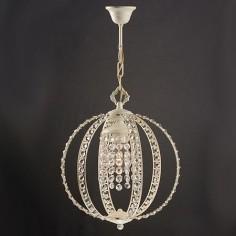 Lámpara colgante Eloide en color blanco con cristales transparentes
