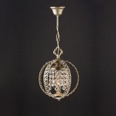 Lámpara colgante Eloide esfera en plata envejecida con cristales