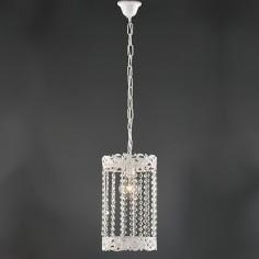 Lámpara colgante Elina en color blanco cilíndrica con abalorios de cristal