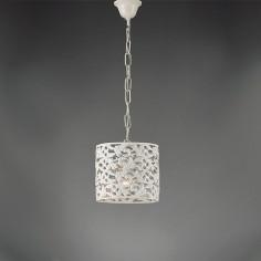 Colgante Ágape cilíndrica en color blanco fabricada en metal calado