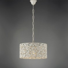 Lámpara colgante Agape metal calado en blanco de 35 cm de diámetro