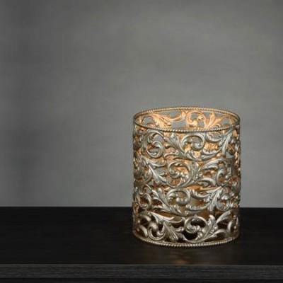 Lámpara de sobremesa Agape cilíndrica plata envejecida en metal calado