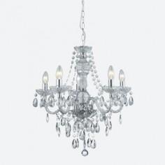 Lámpara chandelier María Teresa en cromo y transparente de cinco luces