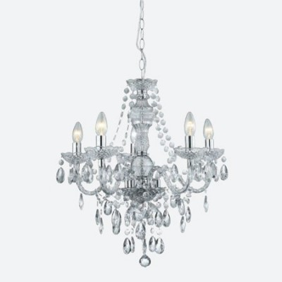 Lámpara chandelier María Teresa en cristal y cromo de cinco luces