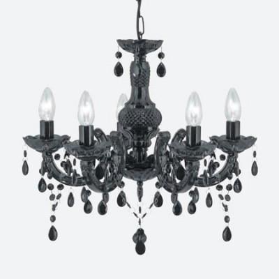 Lámpara María Teresa estilo chandelier negra con cinco luces