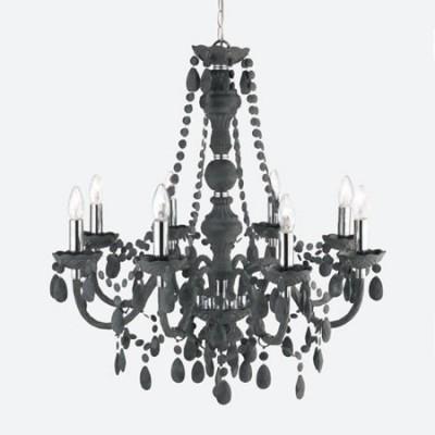 Lámpara de techo María Teresa chandelier ocho luces en gris carbón