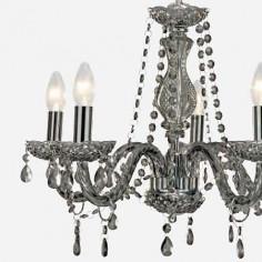 Lámpara María Teresa con cinco luces en cristal gris ahumado