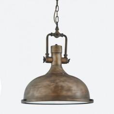 Lámpara colgante industrial en metal tono oro negro