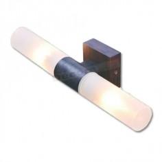 Aplique metal acabado marrón brocheado con 2 cristales IP44