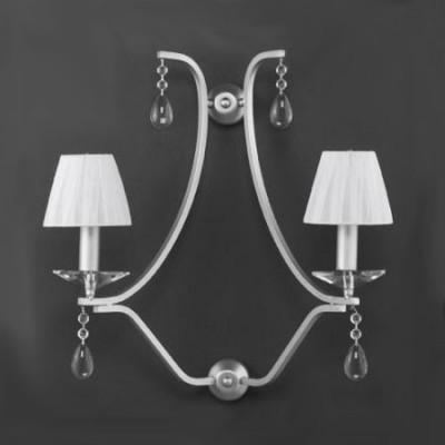 Aplique de pared Alysa en plata con dos luces y pantallas textiles blancas