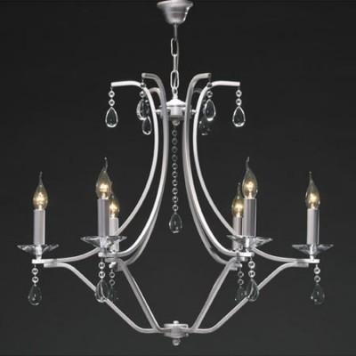 Lámpara de techo Alysa con seis luces en plata con cristales
