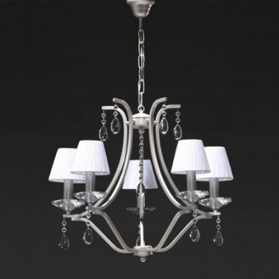 Lámpara cinco luces Alysa en plata con pantallas textil blancas