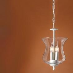 Lámpara colgante Cosmos de tres luces en cristal transparente y blanco