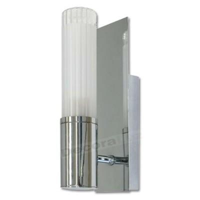 Aplique 1 luz cristal cilíndrico vertical base cromo IP44