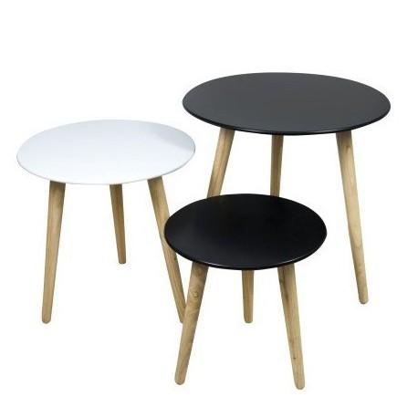 Comprar set de tres mesas redondas en blanco y negro con - Patas para mesas redondas ...