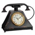 Reloj de mesa con teléfono decorativo vintage en negro envejecido