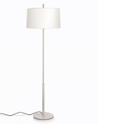 Lámpara de pie Infinito en níquel con pantalla en beige claro