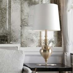Lámpara sobremesa grande Borroco en tono oro con pantalla en crudo