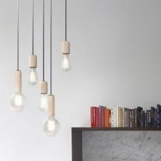 Lámpara colgante Bulb estilo vintage en madera de haya