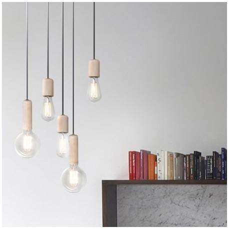 Comprar bombilla colgante bulb vintage madera peque a for Tipos de bombillas led para casa