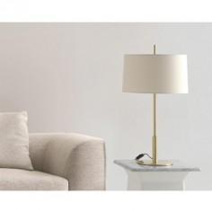 Sobremesa Infinito grande metálica en oro con pantalla textil en crudo