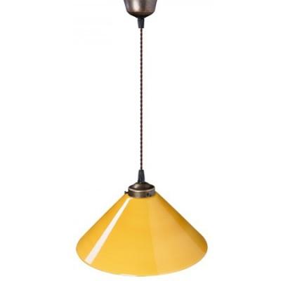 Lámpara colgante Crosby con tulipa de cristal triplex en ámbar