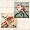 Set de dos lienzos al óleo de bicicletas con flores