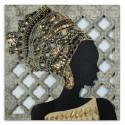 Retablo pared en madera de Africana de estilo étnico en marrón y oro